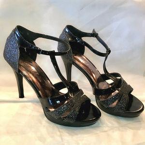 De Blossom Collection Black Sparkly Open Toe Heels